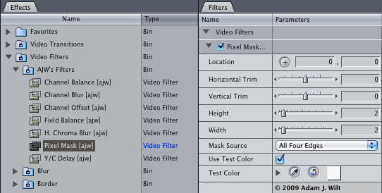 Screenshot of filters in Effects window